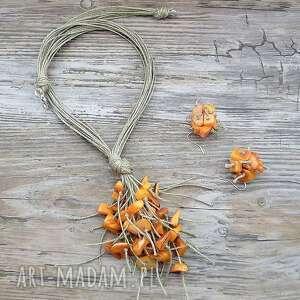 garść pomarańczy - komplet, len, masa, perłowa, naturalne, ekologiczne