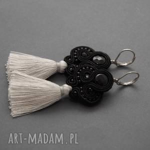 sisu małe kolczyki z małymi chwostami, sznurek, eleganckie, wiszące, wieczorowe