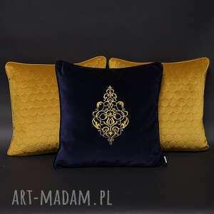 hand-made poduszki welur, aksamit, haft komplet złoto 45x45