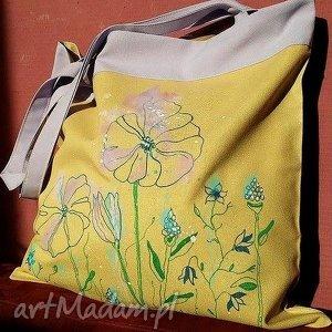 Bawełniana Ekotorba Z Kwiatami, ekotorba, torba, worek, bawełna, malowaneręcznie