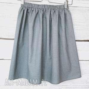 Grafitowa spódnica w drobne kropeczki, w-kropki, klasyka, bawełnina, na-lato