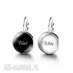pod choinkę prezenty, kolczyki - black white, kolczyki, szklane, nowoczesne