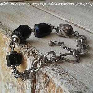 hand-made na surowo bransoletka z turmalinu i srebra