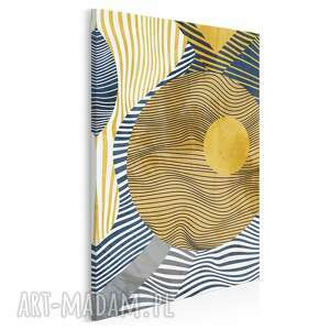 obraz na płótnie - koła linie abstrakcja złoto w pionie 50x70