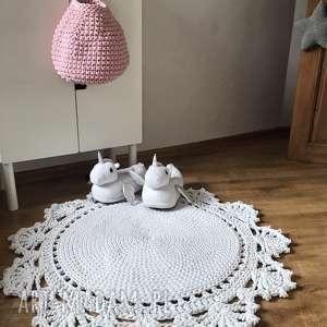 ręcznie robione pokoik dziecka okrągły dziergany dywan 70