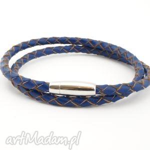 męska men leather blue, bransoletka, męska, skóra, naturalna, metal, antyalergiczny