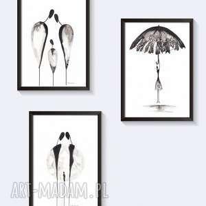 zamówienie -3 grafiki czarno-białe, plakat, grafika, akwarela, obraz-szary