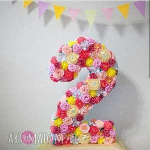 dekoracje cyferka urodzinowa duza, dekoracja, dzieci, urodziny, świata, kwiaty