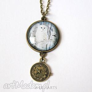naszyjniki naszyjnik - biała sowa zegarek antyczny brąz, naszyjnik, medalion
