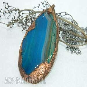 plaster agatu otulony miedzią-n107, agat, wisior miedziowanie, niebieski