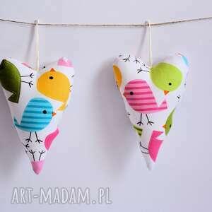 para serc - dla zaświergolonych - serca, zawieszka, ptaszek, przyjaźń