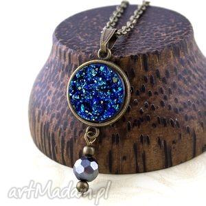 wisior druzy niebieski - wisior, druzy, okrągły, długi, vintage, zawieszka