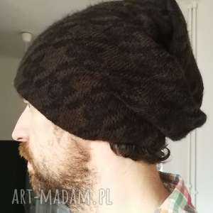 hand-made czapki czapka unisex wełna brąz czarny wzór męska damska