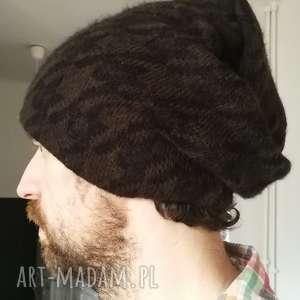 czapka unisex wełna brąz czarny wzór męska damska - męska, rower