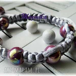 Porcelanka fioletowa- bransoletka makramowa - Ręcznie zrobione