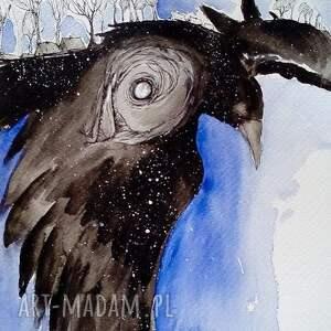 Akwarela KRUCZE SEKRETY artystki plastyka Adriany Laube, akwarela, kruk, ptak