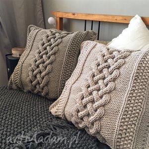 handmade poduszki komplet dużych poduszek dzierganych 60 x60