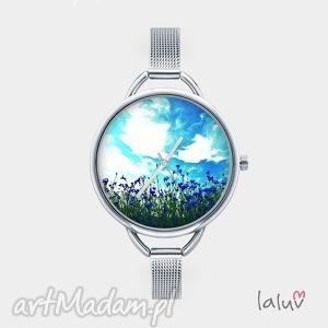 zegarek z grafiką malowane chabry, kwiaty, lato, bransoletka, elegancki, łąka