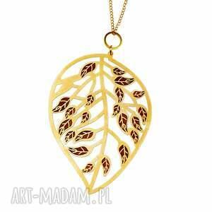 naszyjnik ze złocistym liściem c001, naszyjnik liść, motyw roślinny