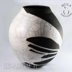 Wazon biało-czarny RAKU, ceramika, raku, wazon, krakle, technika-raku