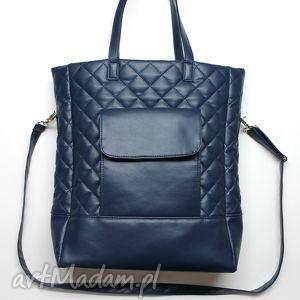 prezent świąteczny Shopper Bag pikowany - granat, shopper, pikowana, prezent, święta
