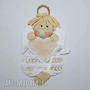 dekoracje aniołek - marcel ma pamiątkę, anioł, masa solna, prezent, serce