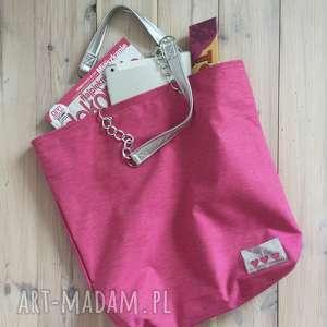 Prezent Duża torba Miejska Różowa, lato, letnia, wakacyjna, miejska, romantyczna