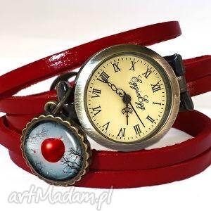 zakazany owoc - zegarek bransoletka na skórzanym pasku - wiśniowy