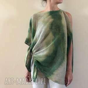 tunika ponczo lniane natura zieleń, tunika, narzutka, bluzka, ponczo, len