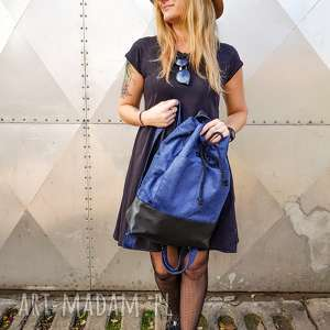 wegański plecak granatowy velvet, plecak, worek, pojemny, prezent