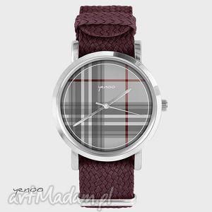 Prezent Zegarek, bransoletka - Szkocka krata bordowy, zegarek, bransoletka, nato