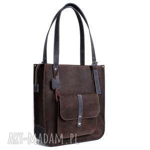 na ramię ręcznie robiona skórzana torebka granatowa, skórzane torby