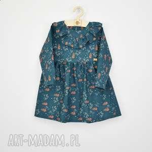 sukienka z falbanka butelkowa, jesiennasukienka, sukienkazfalbanka