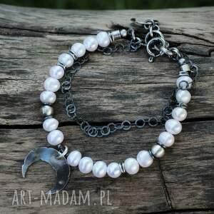 perły z lunulą - bransoletka iii, perły, półksiężyc, lunula