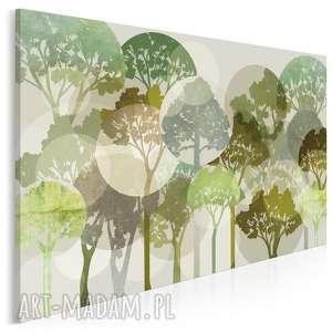Obraz na płótnie - DRZEWA ZIELONY 120x80 cm (63301), drzewa, koła, okręgi, rośliny