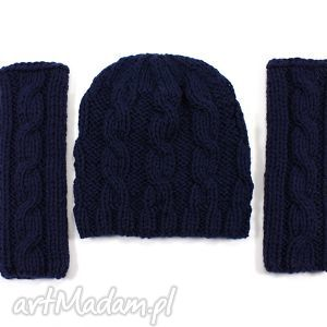 handmade rękawiczki komplet czapka i mitenki w warkocze