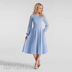 Sukienka aniela total midi niebieski pastelowy sukienki livia
