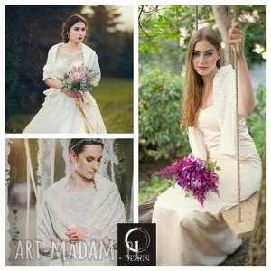 handmade ślub szal ślubny dwustronny biały