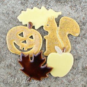 Zestaw magnesów jesiennych, magnesy, jesień, liście, wiewiórka, dynia, halloween