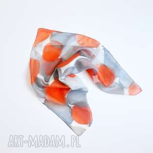 jedwabna malowana apaszka - koła-szarości i orange, jedwab, jedwabna-apaszka