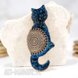 fingersart magnes na lodówkę - niebieski kotek, kot, ceramiczny