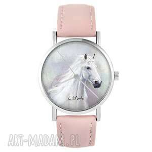 Zegarek - biały koń pudrowy róż, skórzany zegarki liliarts
