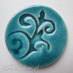 turkusowa magia, ceramiczna, broszka