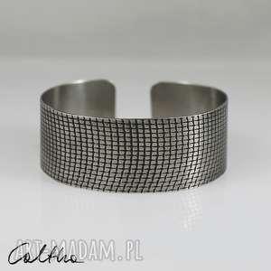 *Kratka - metalowa bransoletka, bransoleta, srebrna, metalowa, kratka
