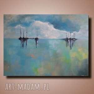 TURKUSOWE MORZE -obraz akrylowy formatu 60/50 cm, obraz, łodzie, nowoczesny, morze
