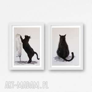 kotki-dwie akwarele każda formatu a5, koty, papier, kredki, akwarela, tusz