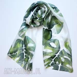 Jedwabny malowany szal w zielone liście , jedwab, ręcznie-malowany, szal, szalik