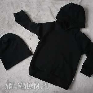 Bluza czarna z kapturem lilla z-kapturem, dresówka