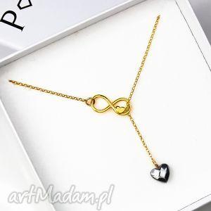 ręcznie zrobione naszyjniki naszyjnik nieskończoność serce srebro 925 złocone