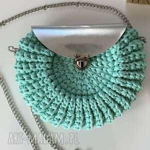 ręcznie wykonane na ramię damska torebka oreo kolor miętowy handmade